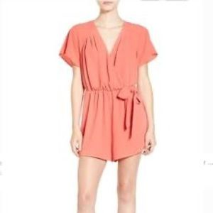 Leith orange short sleeve romper
